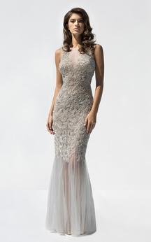 Sheath Floor-Length Bateau-Neck Sleeveless Tulle Crystal Detailing Ruffles Illusion Dress