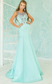 Sheath Sweep Jewel Sleeveless Chiffon Appliques Beading Illusion Dress