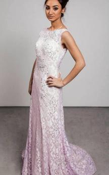 Modern Jewel Sleeveless Lace Evening Dress Sweep Train