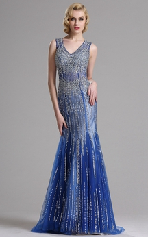Sheath Floor-Length Sweep V-Neck Sleeveless Tulle Beading Keyhole Dress