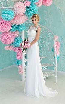 Sheath Maxi Scoop Sleeveless Empire Illusion Chiffon Dress With Lace And Beading