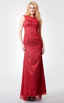 Charming Long Lace Dress With Jewel Neckline
