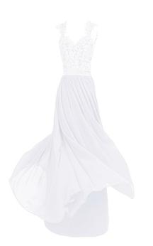 Sleeveless V-neck Lace Beaded Bodice Long Chiffon Dress