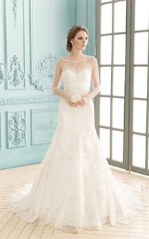 Bateau Illusion Sleeve Low-V Back Floor-length Lace Sheath Dress