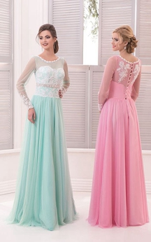 A-Line Floor-Length Sweep Jewel Long Sleeve Tulle Beading Beading Button Dress