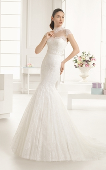 Mermaid High-Neck Long Dress With Illusion Back