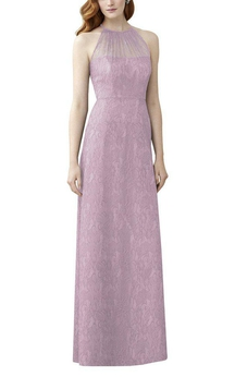 High-neck Illusion Lace Long Bridesmaid Dress
