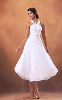 Chiffon Tea-Length A-Line Dress With Beading and Pleating