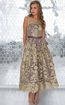 A-Line Anckle-Length Jewel Sleeveless Lace Pleats Sash Keyhole Dress