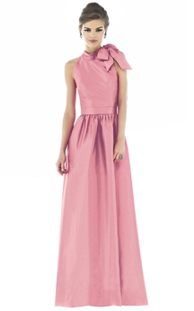 A-Line Long Sleeveless High-Neck Dress With Wit Zipper Back