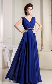 Plunged Caped-Sleeve Floor-Length Chiffon Dress With Pleats