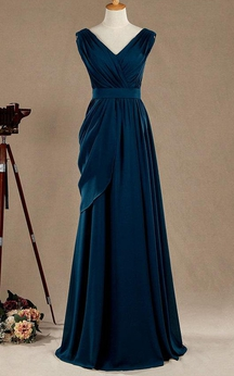 Cap Sleeve V Neck A-line Pleated Chiffon Long Dress With Side Draping