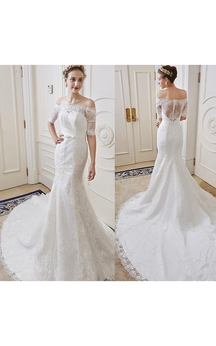 Mermaid Mini Scoop Bell Appliques Tiers Sweep Train Backless Button Keyhole Tulle Lace Dress