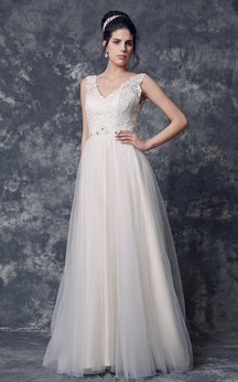Sleeveless V-neck A-line Tulle Gown With Beaded Belt
