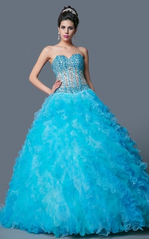 Elegant Ombre-beaded Two-tone Ruffled Tulle Quinceanera Ball Gown With Bolero