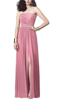 Strapless Ruched Bodice Long Dress with Front Split