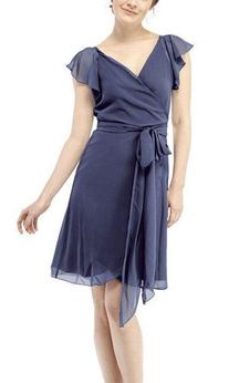 Cap Sleeve V-neck Wrap Short Chiffon Dress with Sash