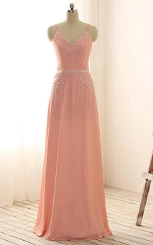 Spaghetti Straps V-neck Appliques Chiffon Lace Dress
