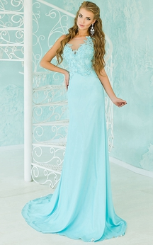 A-Line Floor-Length Off-The-Shoulder Short Sleeve Chiffon Lace Beading Illusion Dress