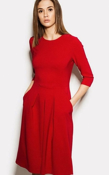 Scoop Neck 3-4 Sleeve A-line Pleated Jersey Dress With Pockets