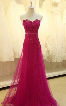 Appliques Sweetheart Pleated Chiffon Tulle Lace Dress