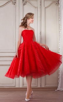 A-Line Tea-Length Strapless Sleeveless Organza Ruching Pleats Zipper Dress