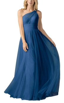 Illusion One Shoulder Ruched Tulle Bridesmaid Dress