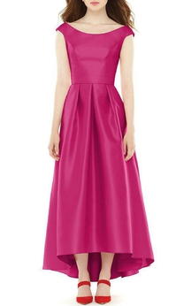 High-low Cap-sleeve Bateau Pleated Satin Dress