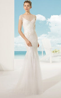 Elegant Lace Dress With Illusion-Neck And Back