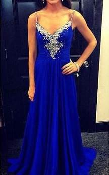 Newest Beadings Chiffon Royal Blue Prom Dress 2016 Zipper Spaghetti Strap