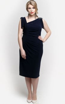 Asymmetric Neck Sheath Jersey Knee Length Dress With Applique