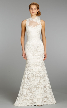 High Neck Floor Length Lace Dress With Keyhole Back