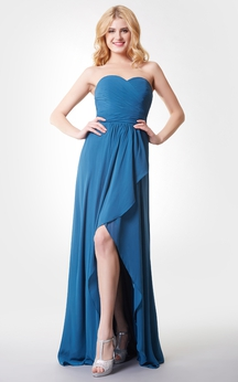 Sleeveless Backless Ruched High-low Chiffon Dress