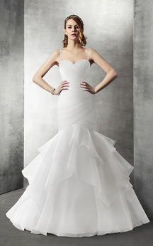 Sweetheart Mermaid Organza Wedding Dress With Cascading Ruffles