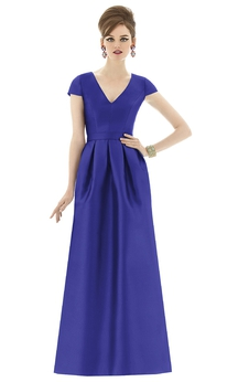 Satin V-Neck Noble Gown With Short Sleeves