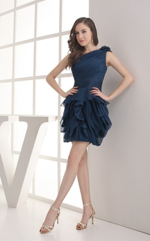 One-Shoulder Ruffled Short Chiffon Dress With Peplum