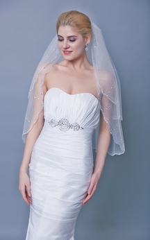 Two Tier Sequined Mid Veil With Beaded Trim