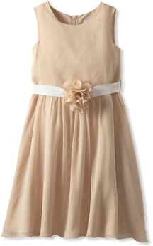 Cap-sleeved Scoop-neck A-line Dress With Pleats and Flower