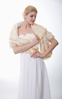 Special Champagne Faux Fur Wedding Shawl