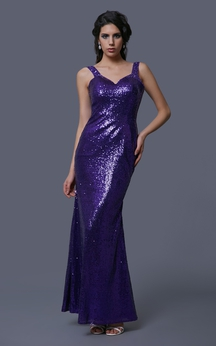 Sleeveless Allover Sequined Gown With Keyhole Back
