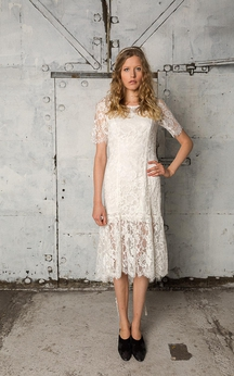 Short Lace Illusion Sleeve Sheath Knee Length Lace Dress