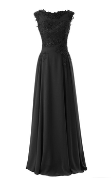 Cap-sleeved Long Chiffon Gown With Lace Bodice