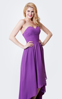 Sweetheart Ruffled High Low Chiffon Dress With Pleats