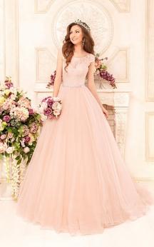 Long Bateau Neck Short Sleeve A-line Tulle Wedding Dress With Beaded Waist