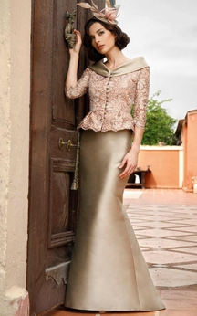 Satin Mermaid Floor Length Dress With 3-4-sleeved Lace Jacket
