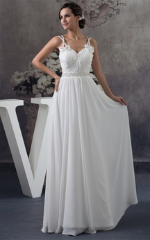 Flowered Sleeveless Ruched Floor Length Chiffon Gown With Crystal Detailing