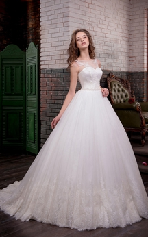 A-Line Floor-Length Scoop Sleeveless Illusion Satin Lace Dress With Appliques And Waist Jewellery