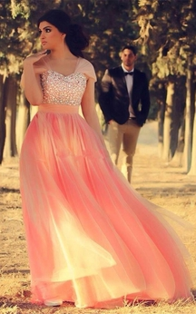Romantic Cap Sleeve Tulle Pink Evening Dress Crystals Floor-length