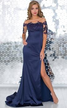 Mermaid Sweep Bateau Short Sleeve Satin Pleats Appliques Zipper Dress