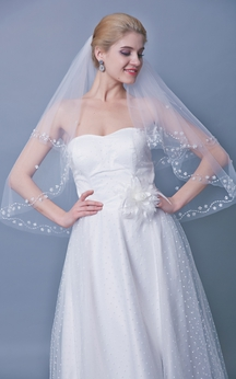 Two Tier Mid Veil With Floral Beaded Trim